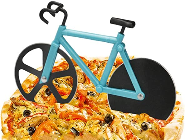 Compra Wagyunfei Bicicleta Pizza Rueda Cocina Restaurante Antiadherente Acero Inoxidable Pizza Slicer (Color : Azul) en Amazon.es