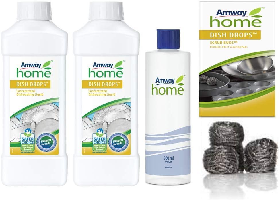 Lavavajillas Líquido Concentrado biodregadable DISH DROPS 1L x 2Unds + 4 Estropajos de Acero Inoxidable SCRUB BUDS™ DISH DROPS+1 Botella de Plástico medidora AMWAY HOME