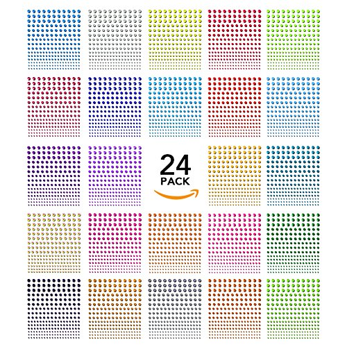 Face Gems,Nicpro 5400 Pieces Rhinestone Stickers Self-Adhesive Elements 24 Sheet Face Jewels Crystal 5 Size 24 Colors for Crafts,Face,Body,Nail,Festival,Carnival,Makeup,Embellishments (Rhinestone Purple Pink)