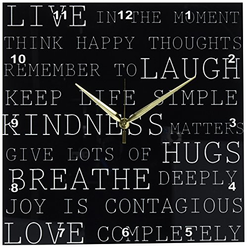 3dRose dpp_164536_2 Live in The Moment Black and White Inspirational Typography-Wall Clock, 13 by 13-Inch