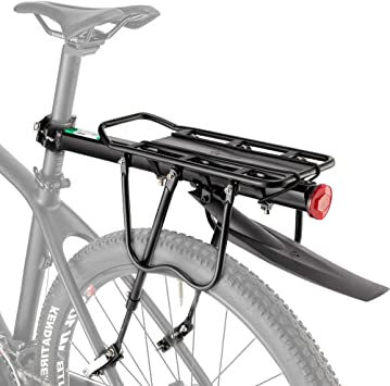 HSNMEY - Soporte para Bicicleta (aleación de Aluminio, Resistente, con liberación rápida, Ajustable, Accesorios para Ciclismo), Black with Fender, 20.9
