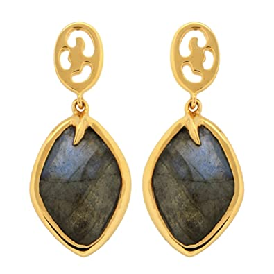 Missoma 18ct Gold Plated Short Maiya Drop Earrings in Labradorite U8PQjo7FTJ