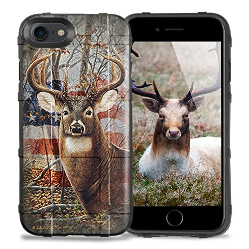 LIMITED EDITION - [Authentic Made in U.S.A.] iPhone 7 Case, iPhone 8 Case, Magpul [Field] Polymer Cover MAG845 [Retail Package] [DropProof] for Apple iPhone 7/iPhone 8 Black Case and Deer Flag