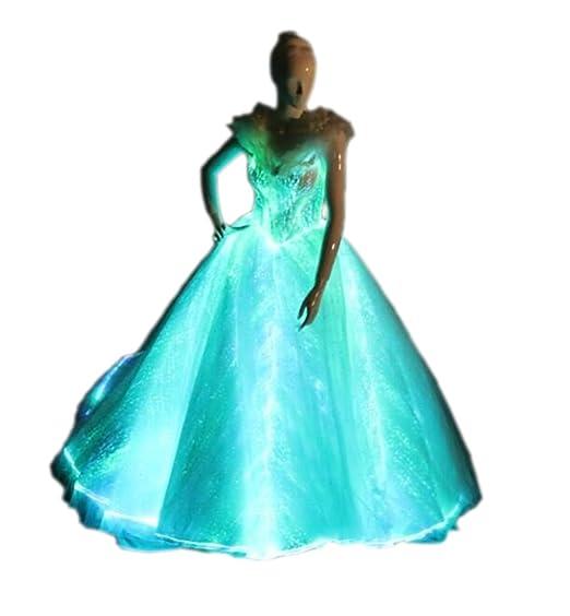 Light Up Evening Dress Glow In The Dark Wedding Dress Luminous Fiber Optic Bridal Gown