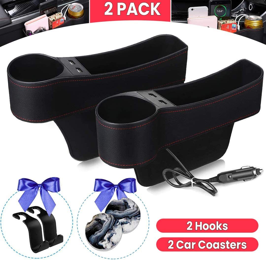 2 Hooks 2 Car Coasters BIKON Car Seat Gap Filler Front Seat Car Seat Multifunctional Organizer with Cup Holder Car Console Side Organizer with Dual USB Charging Premium Console Side Pocket