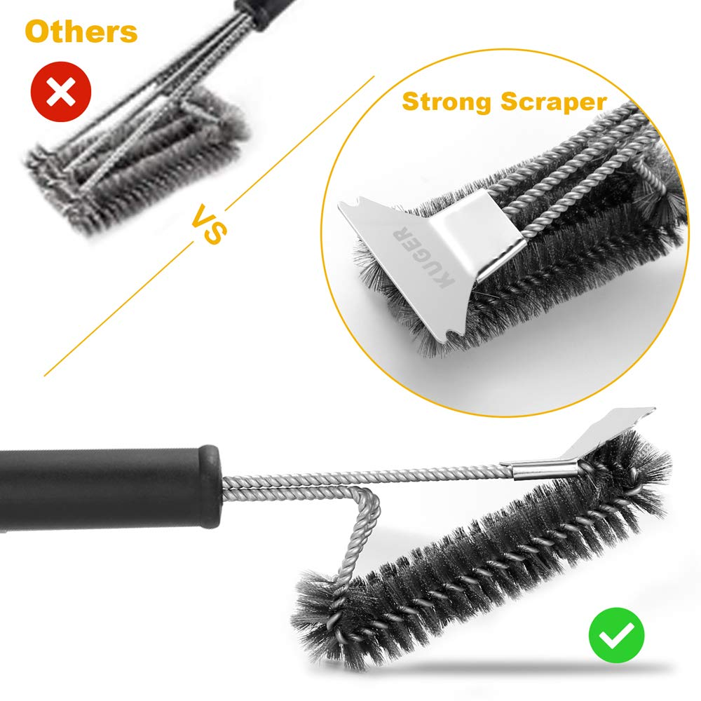 Kuger BBQ Grill Brush and Scraper, Barbecue Wire Grill Brush 18\