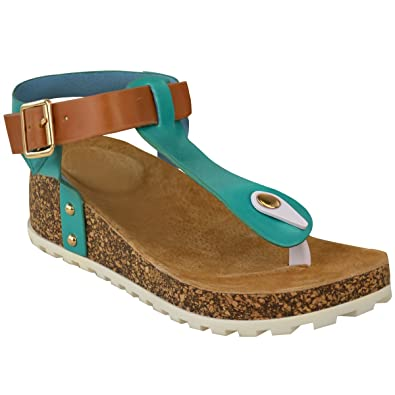 1e54aa9af New Ladies Womens Wedge Comfort Sandals Cushioned Flip Flops Footbed Shoes  Size  Amazon.co.uk  Shoes   Bags