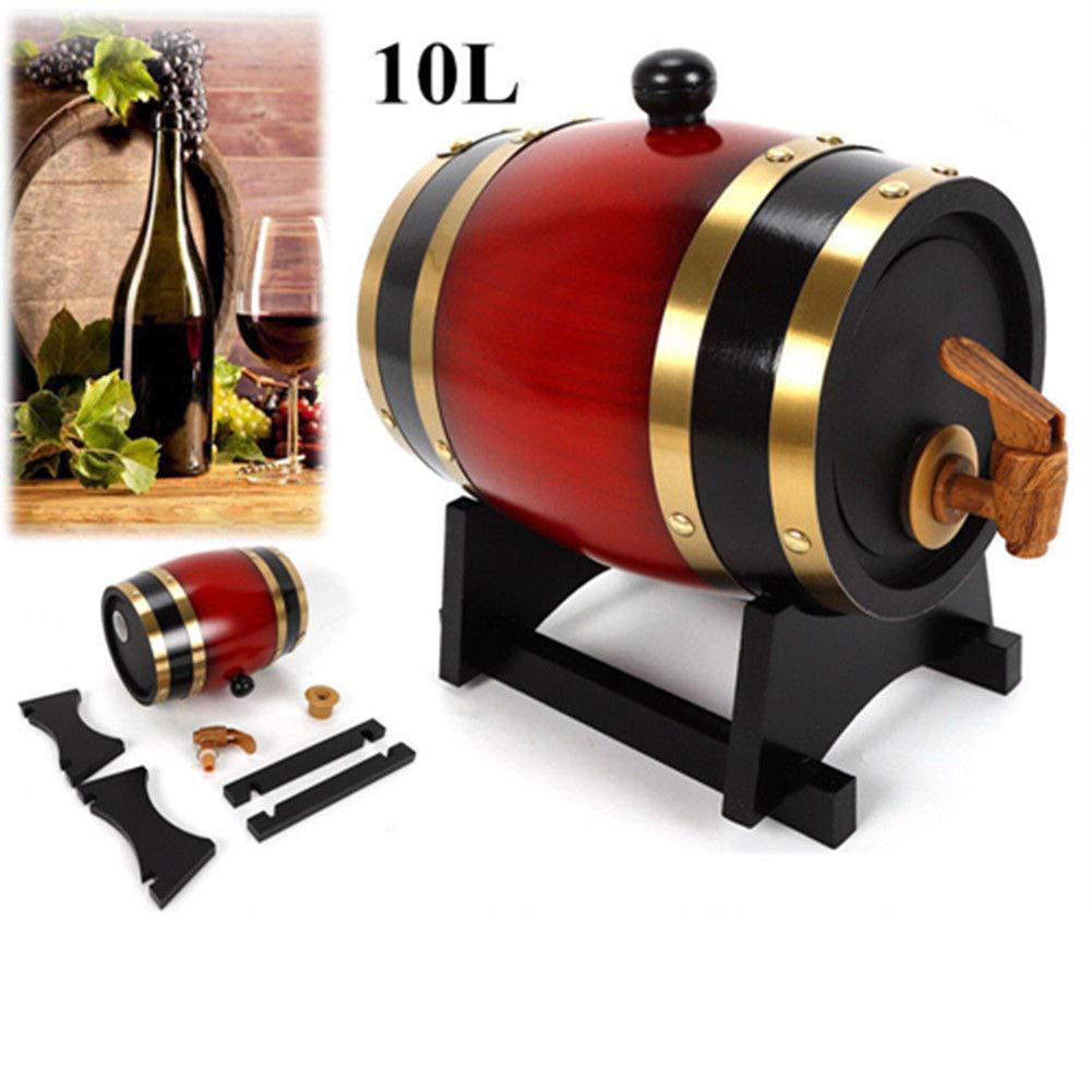 1.5L/3L/5L/10L Wine Barrel, Vintage Wood Oak Wine Barrel Storage Wine with Wooden Stand for Port Liquor Whiskey Rum Port Liquor Keg (US Stock) (10L)