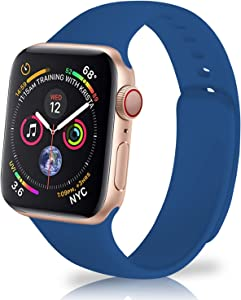Yuroseki Compatible with Apple Watch Band 38mm 40mm 42mm 44mm for Women Men, Sport Soft Silicone Replacement iWatch Bands compatible with iWatch Series 6/5/4/3/2/1 & SE (42mm/44mm M/L Navy Blue)