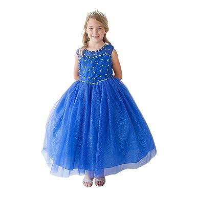 63eb26b380d Little Girls Royal Blue Glitter Tulle Illusion Neckline Flower Girl Dress 2