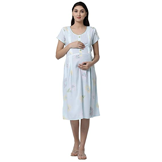 b7c0b56bedc GOLDSTROMS Minelli Women Short Sleeve Rayon Fabric Maternity/Nursing/Feeding  Gown (X-