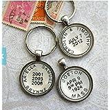 Personalized Keychain - Postmark Custom Key Chain - Kid's Names or Custom Location and Date - Men's Keychain by ASA