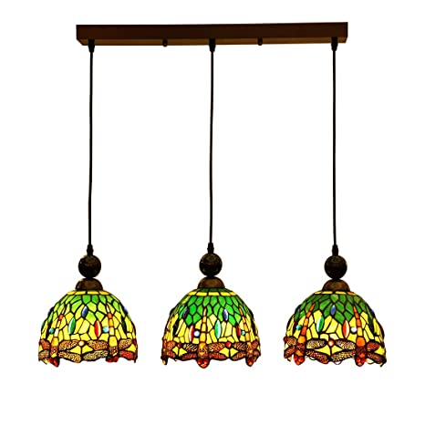 Wondrous Makenier Vintage Tiffany Style Stained Glass 3 Light Dragonfly Lampshade Dining Room Bar Pendant Lamp 7 Inches Lampshade Download Free Architecture Designs Xoliawazosbritishbridgeorg