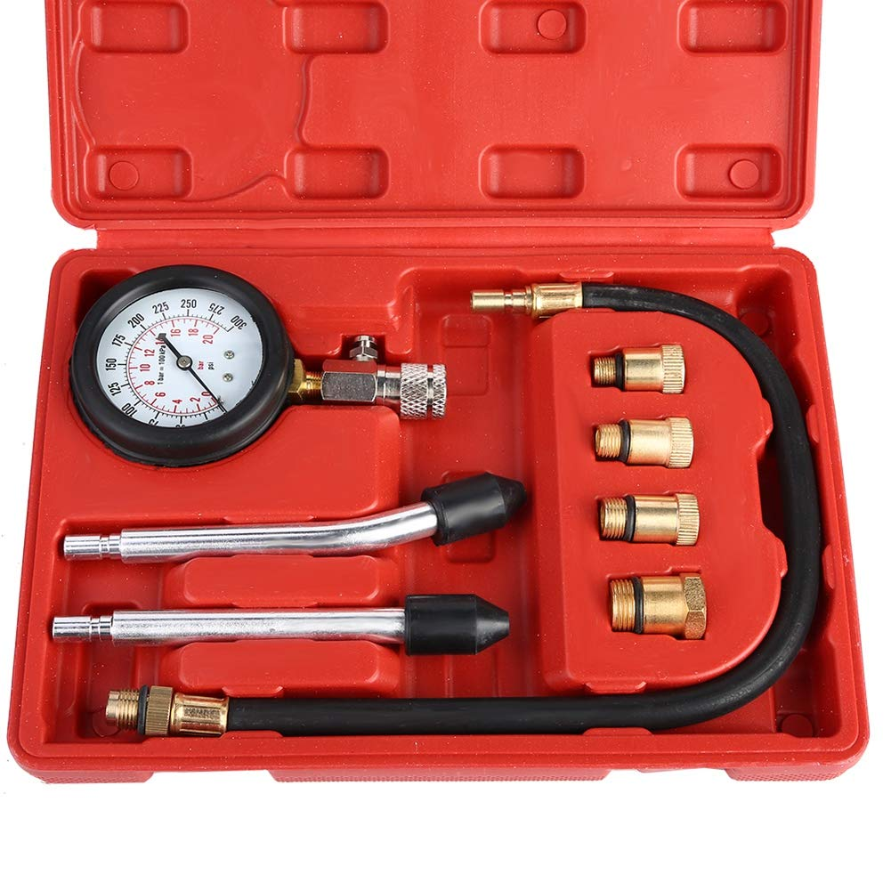 Acouto Copper Gasoline Engine Compression Tester Kit Auto Petrol Gas Engine Cylinder Automotive Test Kit Automotive Tool Gauge with Carrying Case