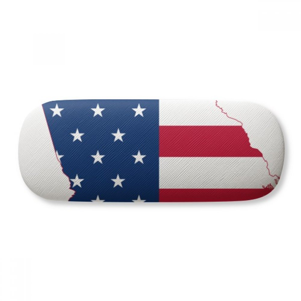 Georgia USA Map Stars Stripes Flag Shape Glasses Case Eyeglasses Clam Shell Holder Storage Box