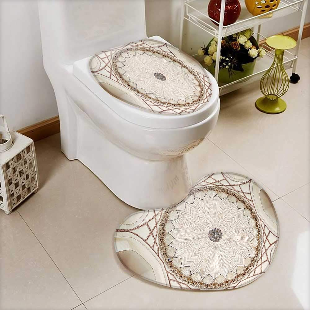 also easy 2 Piece Toilet lid cover mat set symmetrical ceiling dome pattern in india Soft Shaggy Non Slip