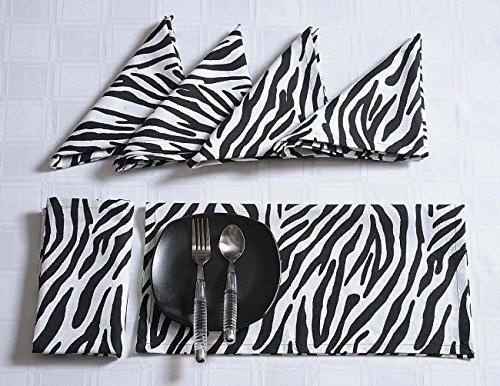 Modern Print Cotton Dinner Napkins - 20'' x 20'' - Set of 24 Premium Rose Pattern Table Linens for the Dining Room - Black and White Zebra by ShalinIndia