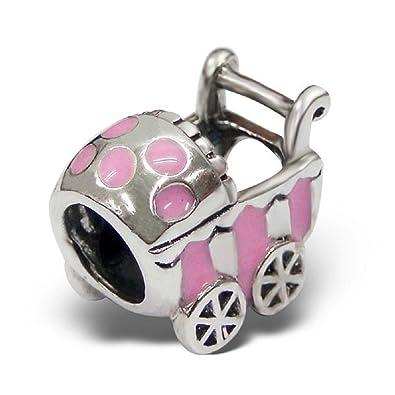 Del bebé cochecito Bead Charm – para Pandora y pulseras – con epoxi color – Plata