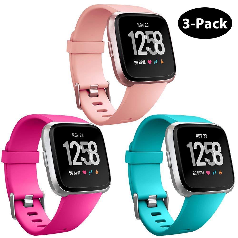 Repuesto Mallas De Reloj Fitbit Versa Y Fitbit Versa Lite (3 Unidades, Celeste, Rosa, Durazno) Talle S