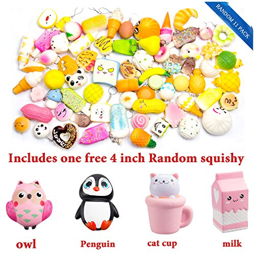 WATINC Random 12 pcs Include(11pcs 4-7cm and 1pcs 13cm) Squishy Cream Scented Slow Rising squishies Charms, Kawaii Toy, Stress Relief Toy Jumbo Medium Mini Soft Food squishies, Phone Straps.