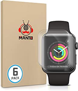 MANTO Screen Protector Compatile with Apple Watch Series 3 2 1 38mm, Ultra Thin Clear Case Friendly with Max Coverage Soft TPU Flexible Film for iWatch 3 2 1 38mm, 6 Pack
