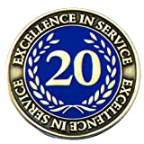20 Year Excellence in Service Gold Laurel Design Appreciation Award Pin