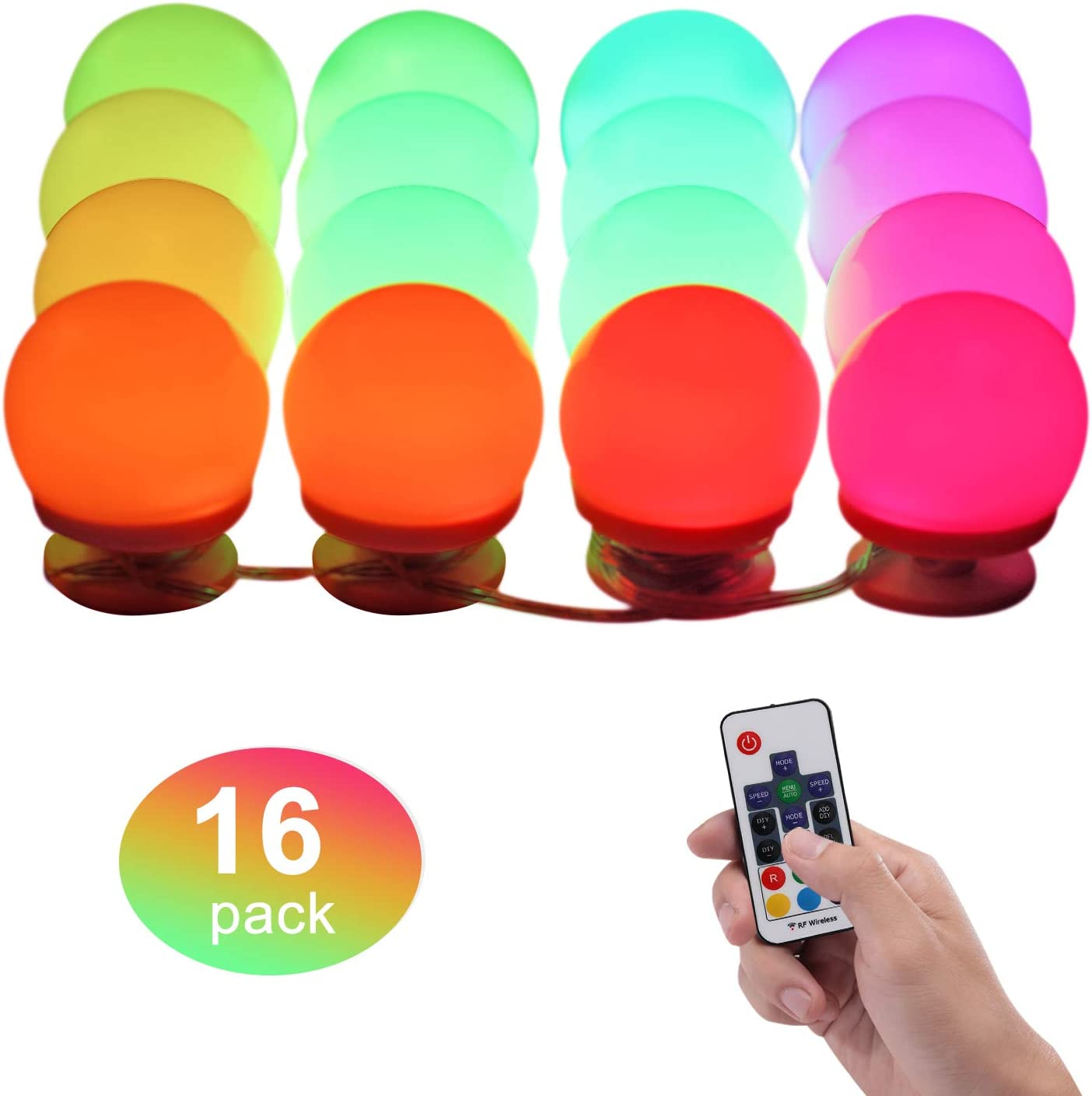 Dream Color LED Mood Light, Remote Controlled Rainbow Chasing Vanity Lights, Stick-on Color Changing Decorative RGBW Wall Lights for Party, Wedding, Birthday, Makeup Mirror (16 Pack, RGBW Dream Color)