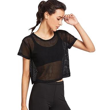 Femmes Filles Sportwear Manche Courte Engrener Cover Up Sports Blouse  Transparent T-Shirts Running Yoga b2af61ee9b4