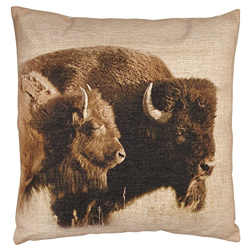 Buffalo Burlap Western Pillow - Rustic Bedding Decor
