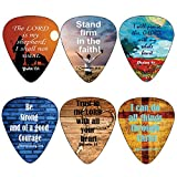 Christian Guitar Picks with Popular Bible Verses -12 Pack Celluloid Medium - Cool Acoustic and Electric guitar Accessories - Unique Gift for Men and Women Guitarists - Best Stocking Stuffers