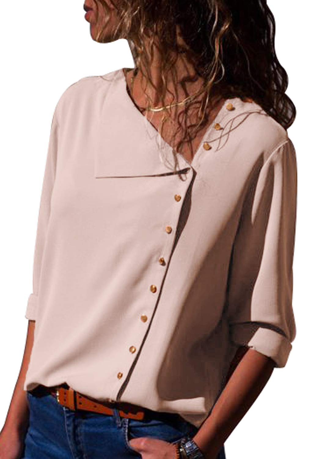 Dokotoo Womens Top Loose Ladies Fashion Long Sleeve Button Down Tunic Loose Silk Blouse Solid Tops Chiffon Henley Shirts Pink Large