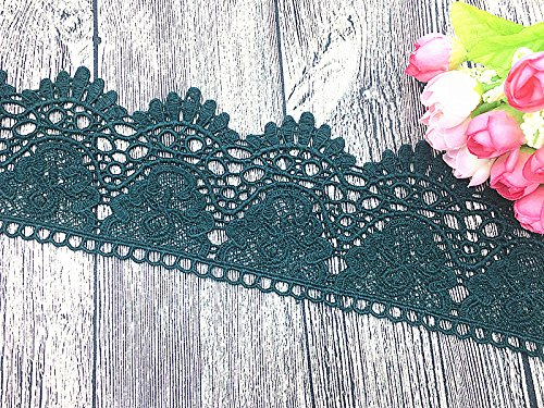 9CM Width Europe Crown Pattern Inelastic Embroidery Lace Trim,Curtain Tablecloth Slipcover Bridal DIY Clothing/Accessories.(4 Yards in one Package) (Blackish Green)