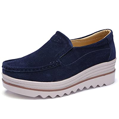 HiEase Women's Outdoor High Platform Wedges Lace-up Sneakers Leather Slip ONS Loafers