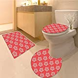 3 Piece large Contour Mat set Vintage Navigation Voyage Themed Lifestyle Image with Sextant and Discovery Tools Ar Bathroom Rugs Contour Mat Lid Toilet Cover