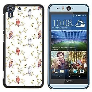 Eason Shop / Premium SLIM PC / Aliminium Casa Carcasa Funda Case Bandera Cover - White Bird Wallpaper Acuarela - For HTC Desire Eye ( M910x )