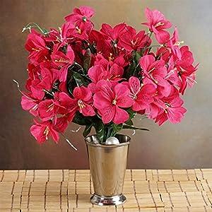 144 Wholesale Artificial Silk Amaryllis Flowers Wedding Vase Centerpiece Decor - Fushia 77