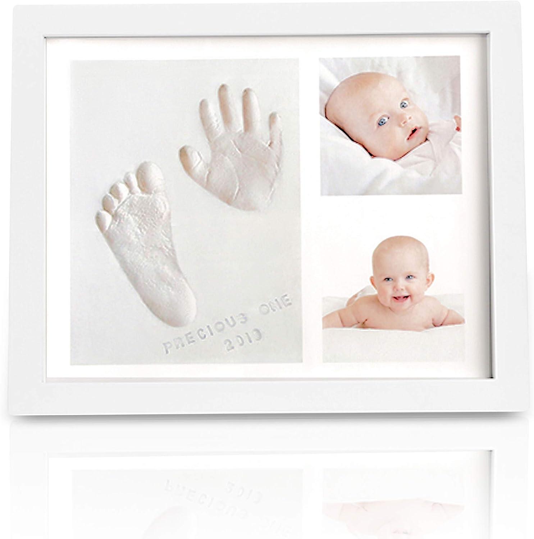 Kit de recuerdo de huella de huella de bebé - Marcos de kit de arte de memoria para bebé recién nacido - Baby shower para niños, niñas - Caja de regalo de registro de bebé perfecta (Blanco)