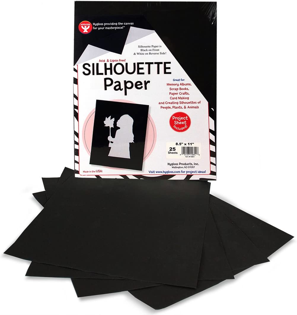 Hygloss Products Black Silhouette Paper – Tracing Portrait Drawing Crafts Paper - 8-1/2 x 11 Inch, 25 Sheets