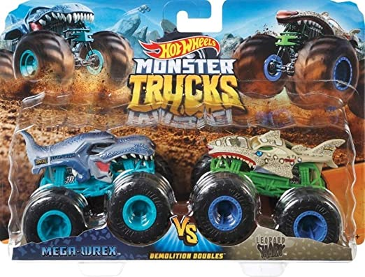 Amazon Com Hot Wheels Monster Trucks Demolition Doubles Mega Wrex Vs Leopard Shark Giant Wheels Kitchen Dining