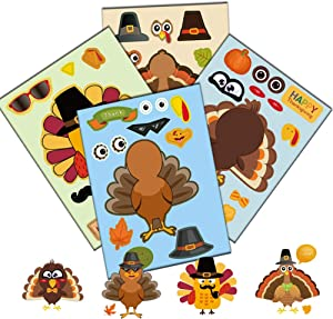 Thanksgiving Turkey Stickers for Kids, Make a Turkey Sticker for Thanksgiving Party Games, Children DIY Creation Turkey Face Stickers for Window Home Office Fall Autumn Party Decoration 24 PCS