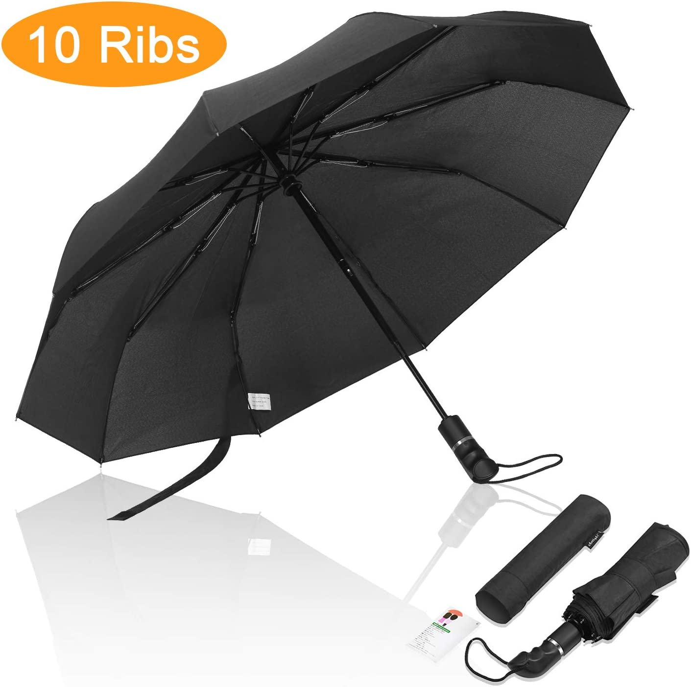 Auto Open and Close Folding Umbrella Windproof Black COLORGO Compact Travel Umbrella