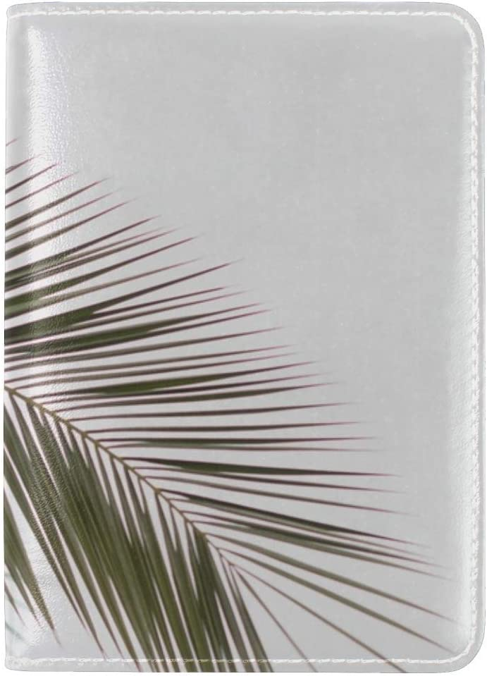 Palm Branch Leaves Leather Passport Holder Cover Case Travel One Pocket