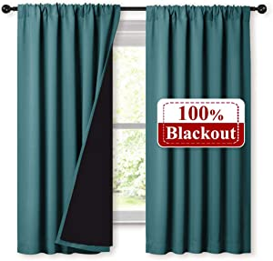 NICETOWN 100% Blackout Curtain Panels, Thermal Black Liner Curtains for Nursery Room, Noise Reducing and Heat Blocking Drapes for Windows (Set of 2, Sea Teal, 52 inches Wide by 63 inches Long)