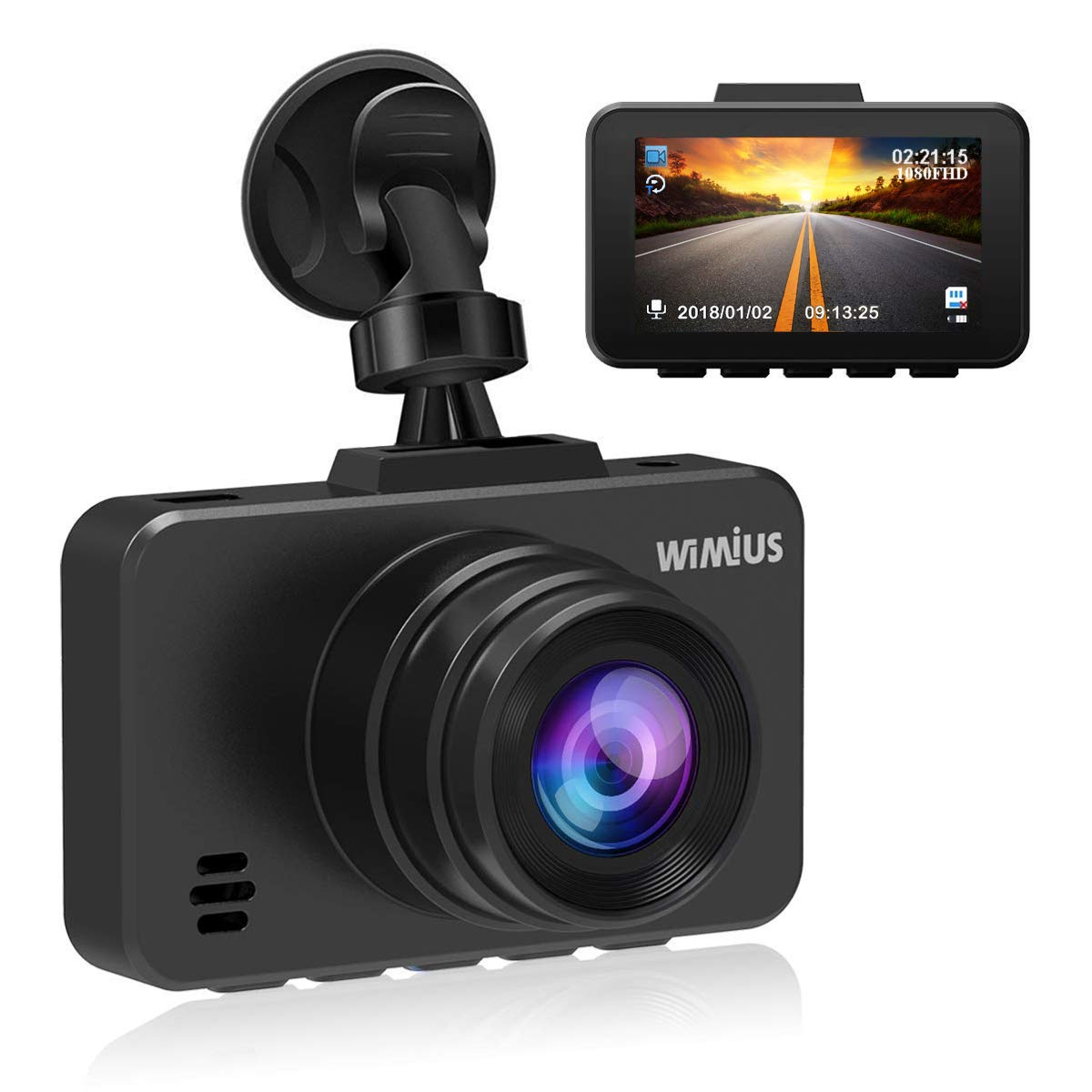 Dash Cam WiFi, WIMIUS 1080p Full HD Dash Camera for Cars, Magnetic Car Camera with Loop Recording, G-Senor, WDR, Night Vision, Motion Detection, Parking Monitor, SD Card Included-Silver