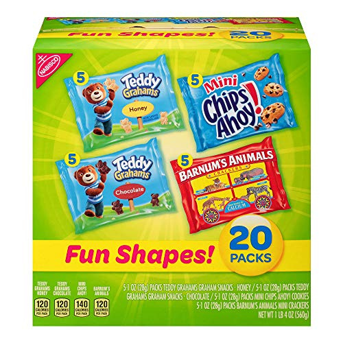 Nabisco Fun Shapes Cookie & Cracker Mix, Variety Pack with Teddy Grahams, Chips Ahoy! Cookies & Barnum's Animal Crackers, 20 Count Individual Snack Bags -