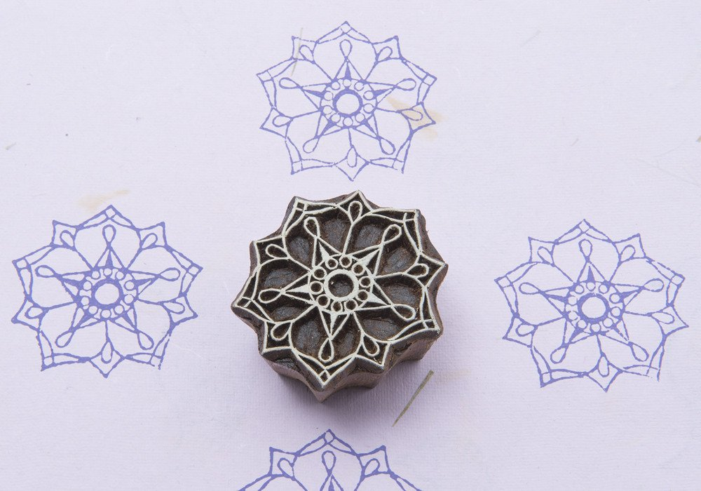Blockwallah Flower of Love Wooden Block Stamp