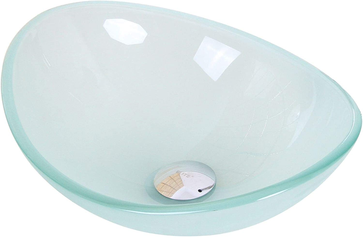 Mini Tempered Glass Boat Shaped Oval Bowl Bottom Vessel Bathroom Sink Sink Finish Frosted
