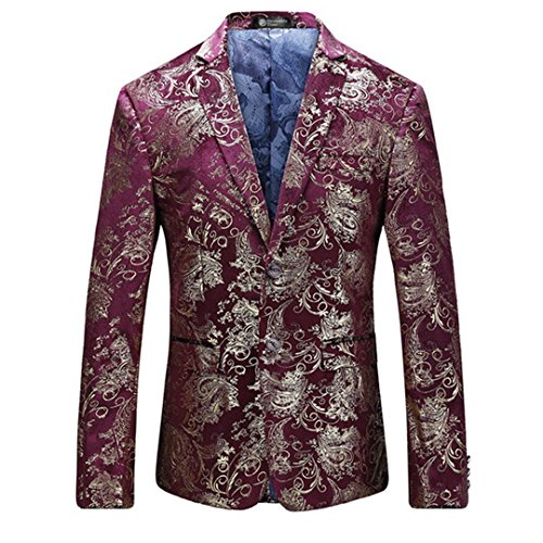 Suite Men's Velvet Jacket Coat Slim Plus Size Casual Gold Floral Jacket Men's Clothing Red M (Jacket Velvet Casual Mans)