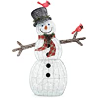 Home Accents Holiday 72 in. Christmas LED Acrylic Snowman with Two Birds