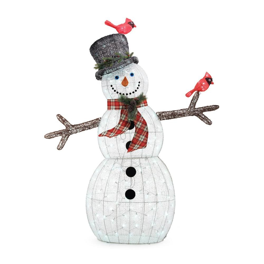 Home Accents Holiday 72IN 240L LED ACRYLIC SNOWMAN WITH 2 RED BIRDS by Home Accents Holiday